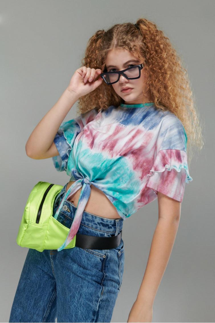 Camiseta estampada tie dye, manga corta