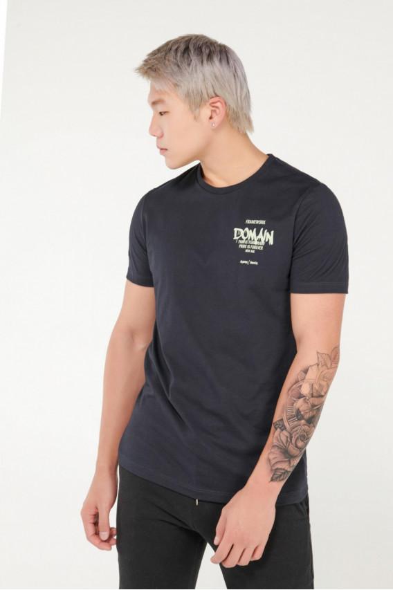 Camiseta manga corta con estampado frente y espalda