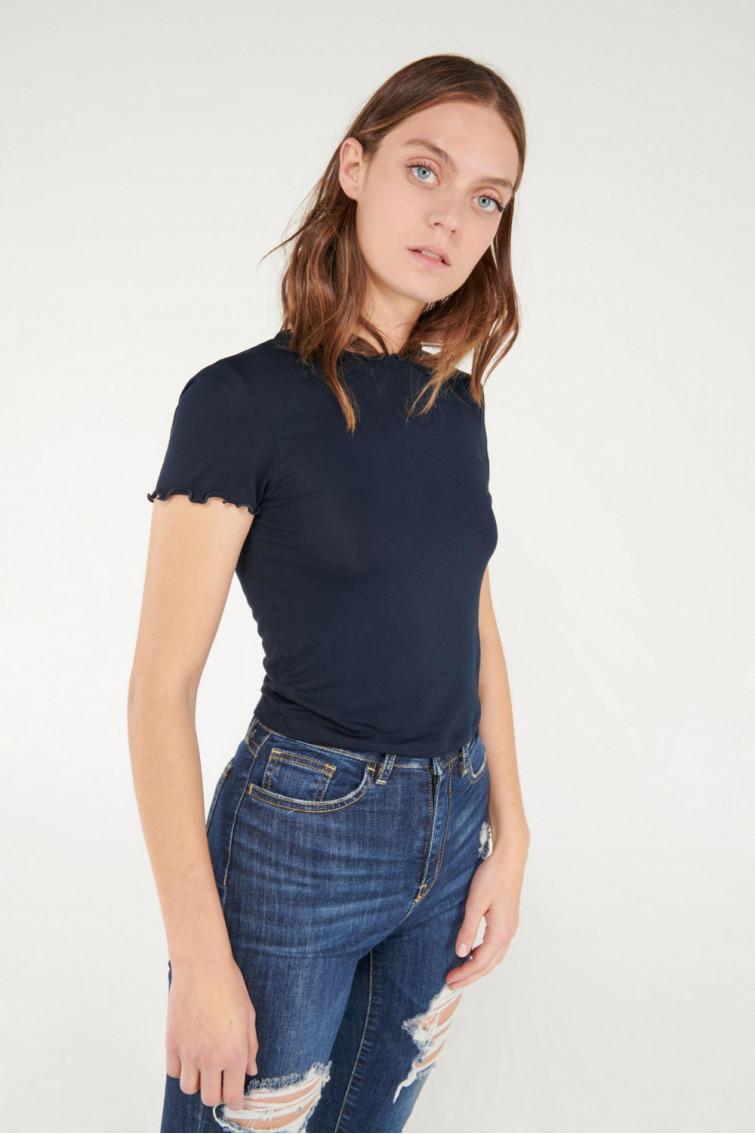 Camiseta cuello redondo, manga corta unicolor