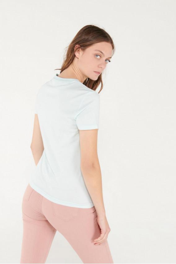 Camiseta cuello redondo, manga corta con estampado con glitter