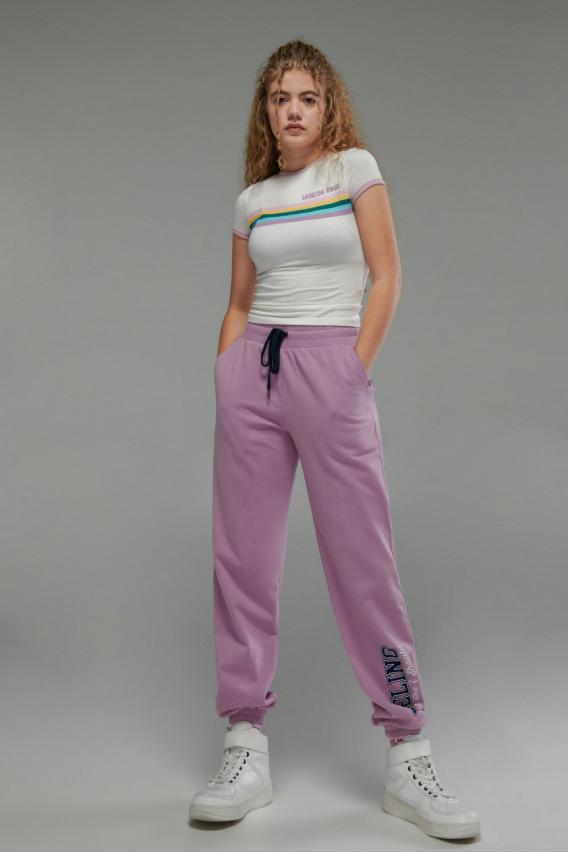 Camiseta básica, manga corta con cuello redondo, con estampado jeanswear