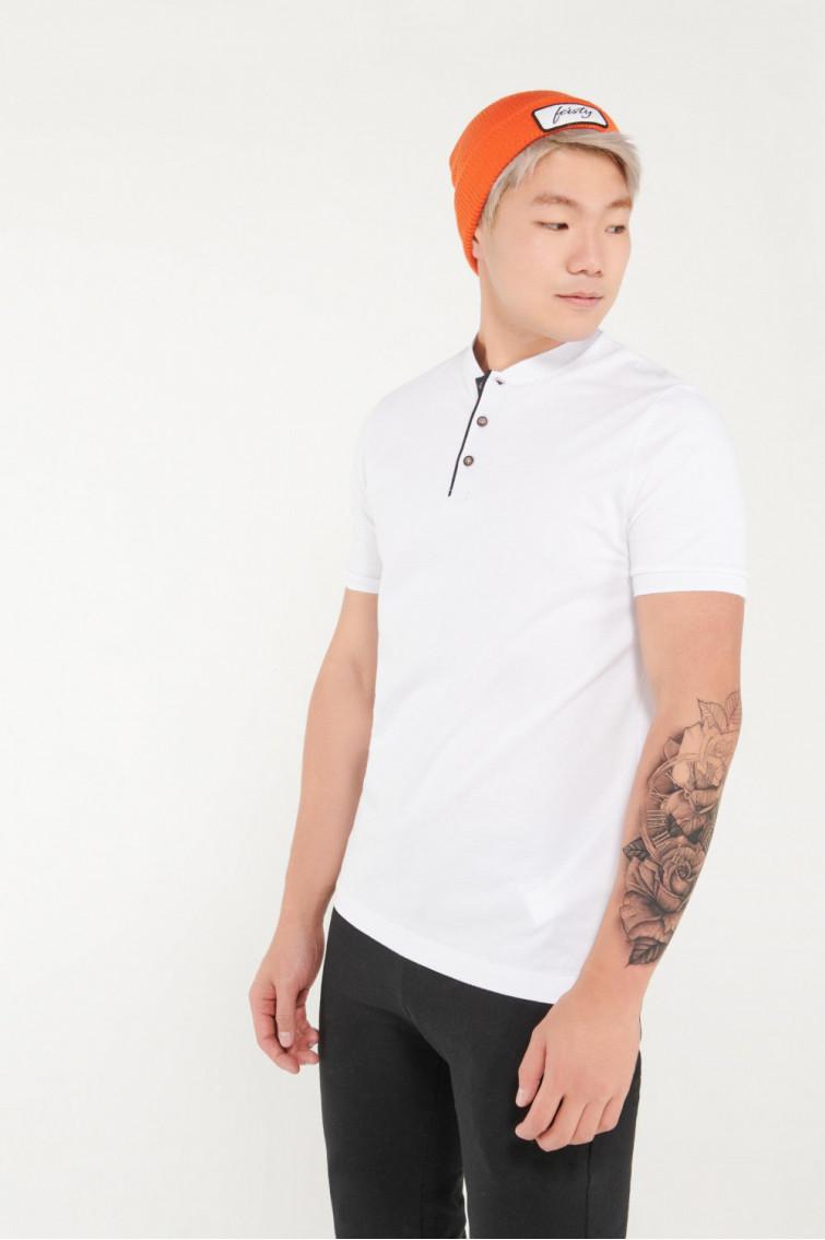 Camisa Polo manga corta unicolor, con banda cuello