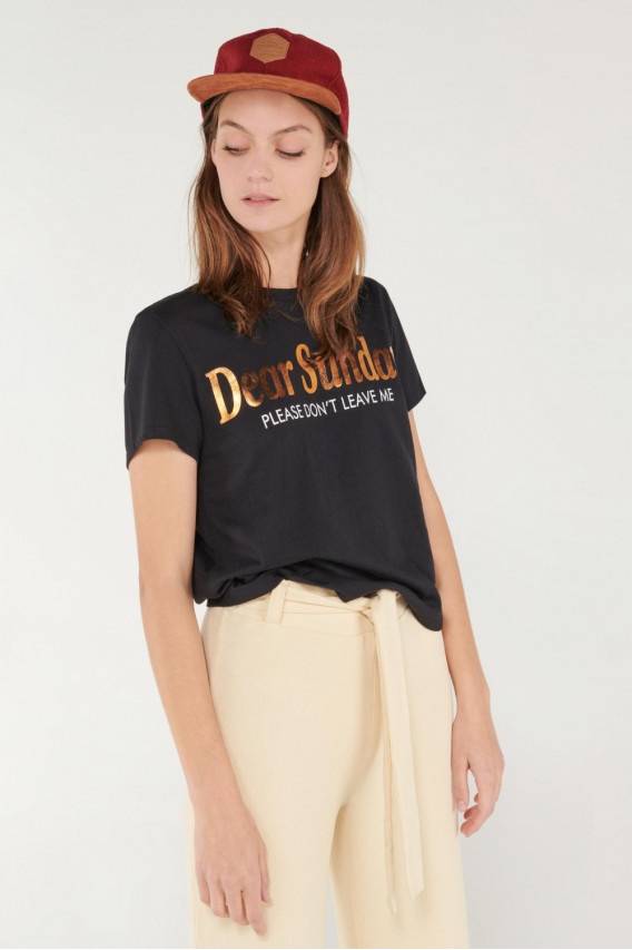 Camiseta cuello redondo, manga corta con estampado