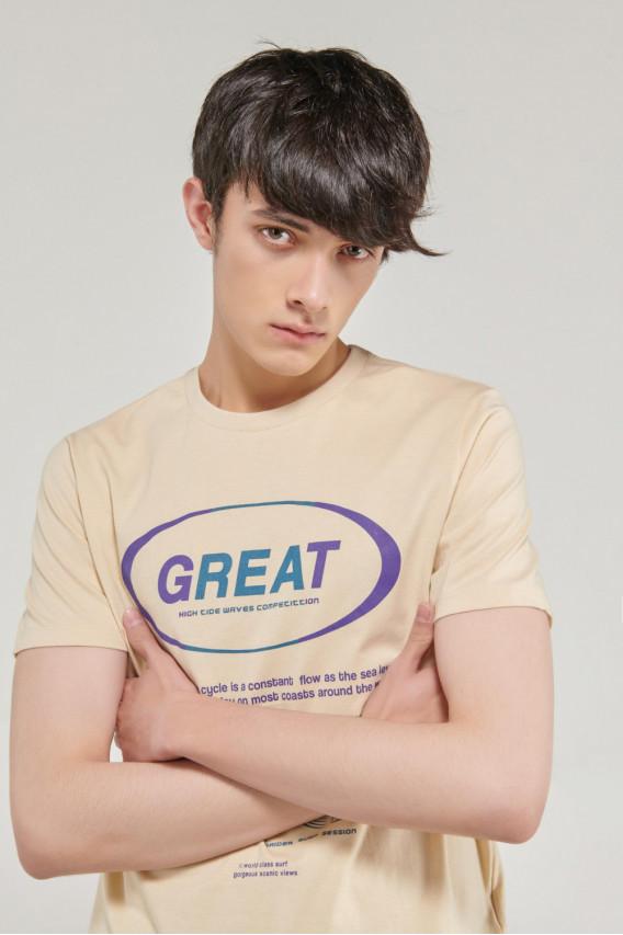 Camiseta cuello redondo manga corta estampada