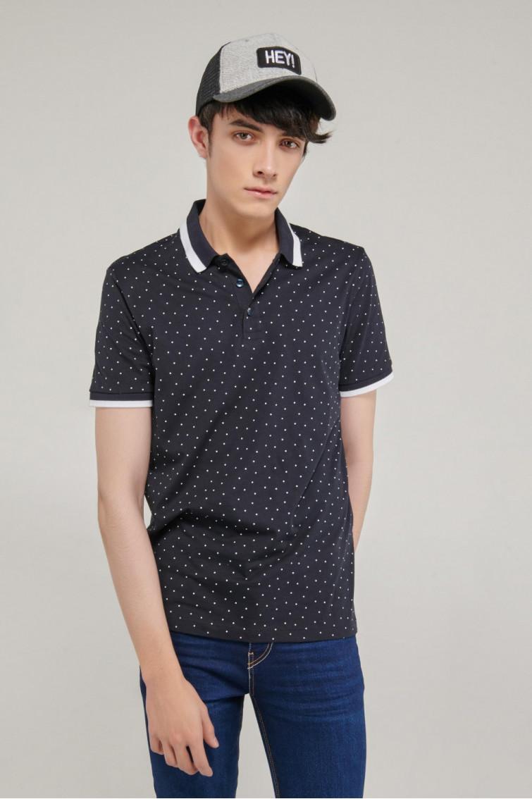 Camiseta Polo manga corta estampada, con banda cuello
