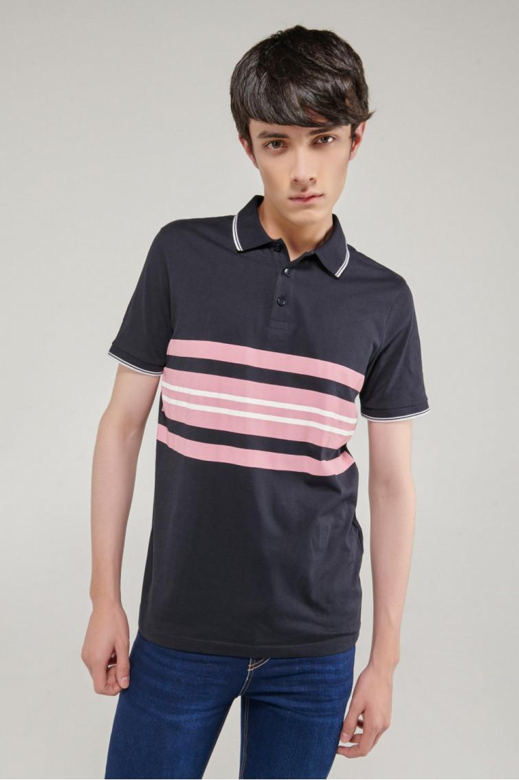 Camisa Polo manga corta estampada en frente, rayas