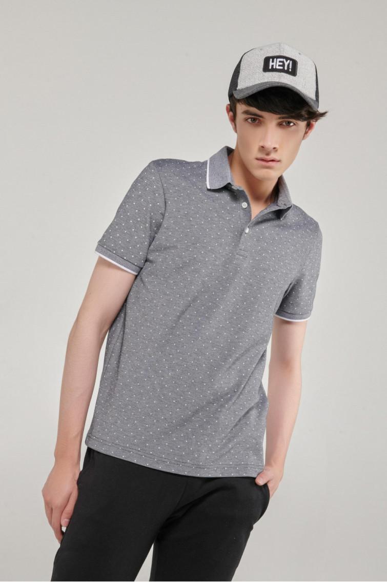 Camiseta Polo manga corta estampada, con cuello y puños tejidos