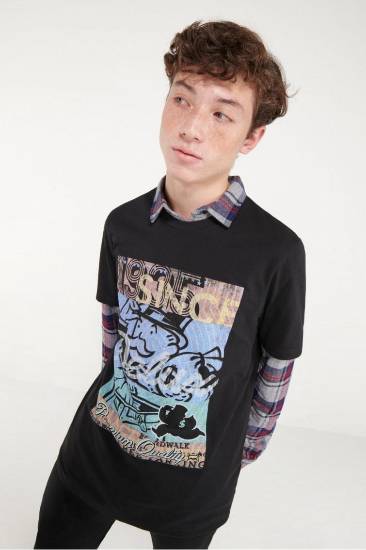 Camiseta moda manga corta estampado monopolio