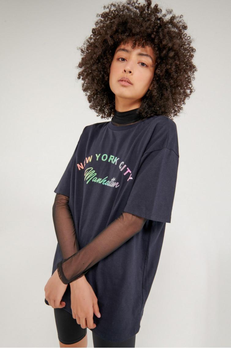 Camiseta overzise cuello redondo, estampada