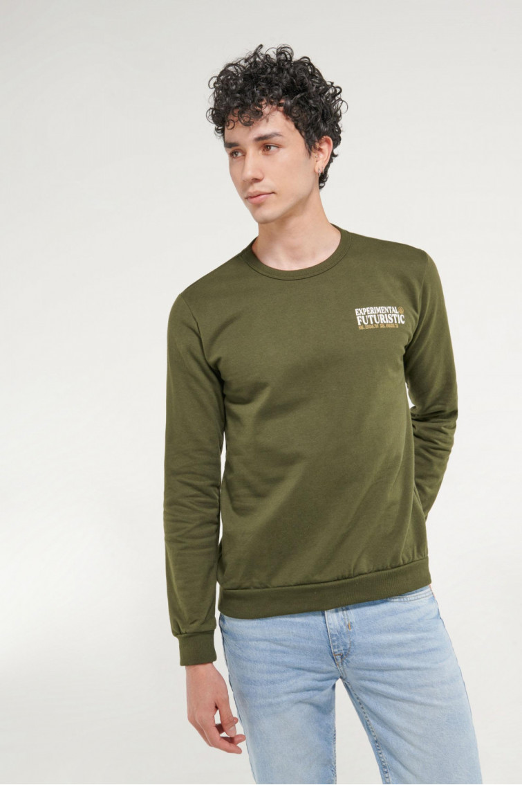 Suéter cuello redondo con estampado frente y espalda