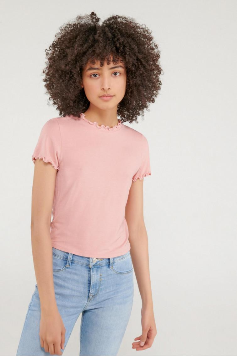 Camiseta unicolor manga corta cuello redondo con minifilete