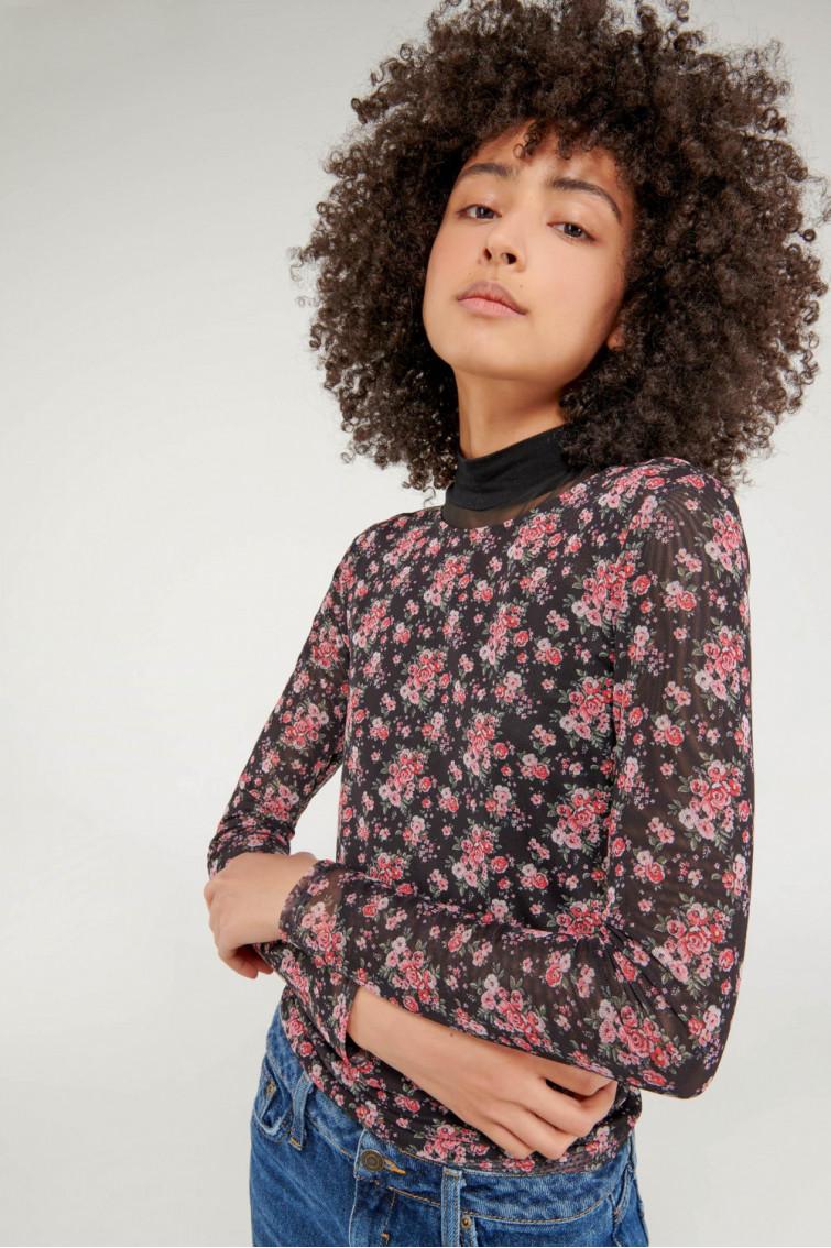 Camiseta manga larga en mesh sublimado con rosas