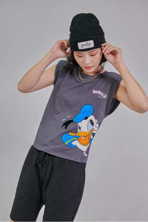 Camiseta con hombreras estampada Donald.