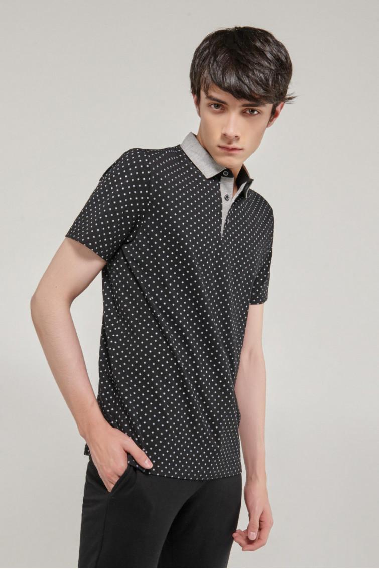 Camisa Polo manga corta estampada, con cuello y banda cuello