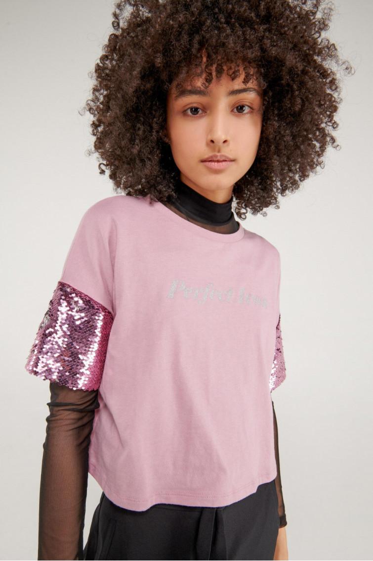 Camiseta estampada manga corta en lentejuelas, estampado en shimmer