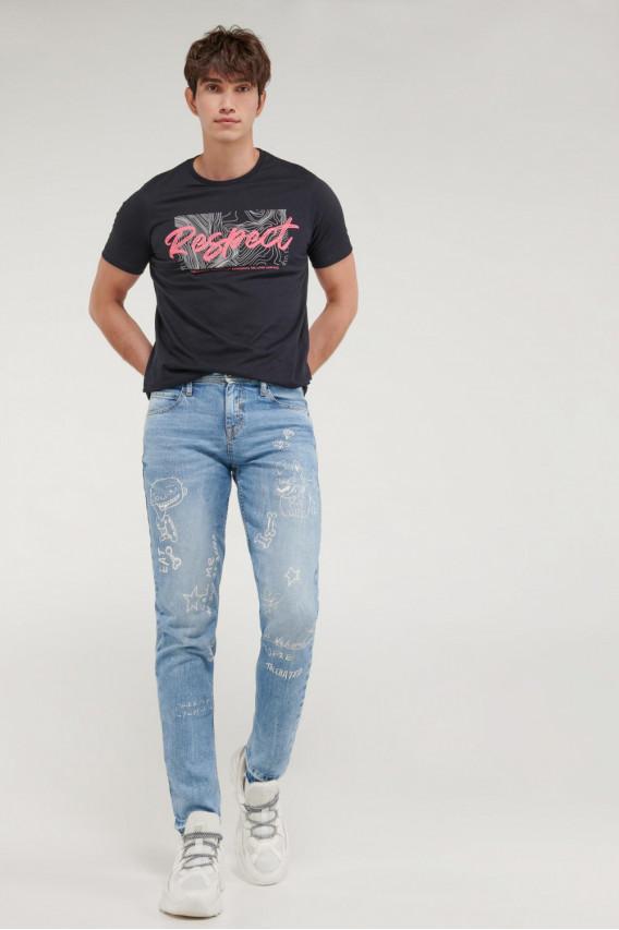Jean skinny estampado