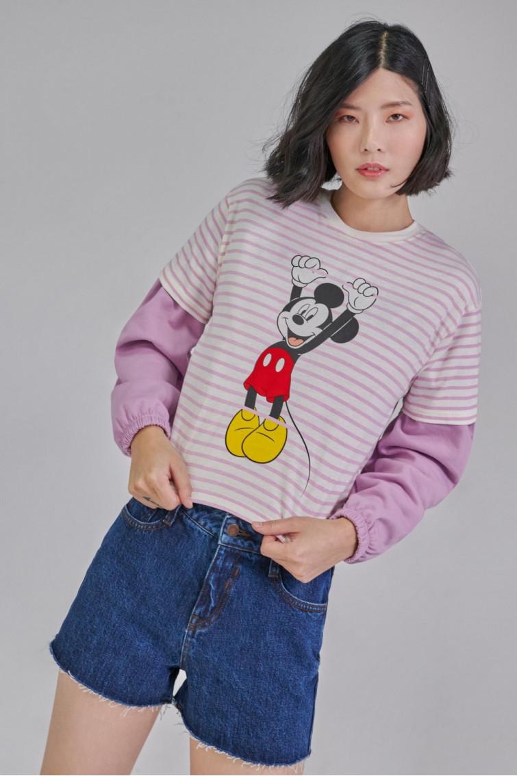 Camiseta manga corta estampada Mickey.
