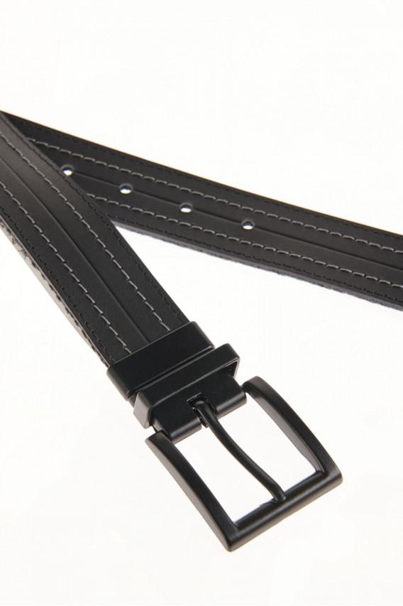 Cinturon unicolor negro -reversible hebilla metalica