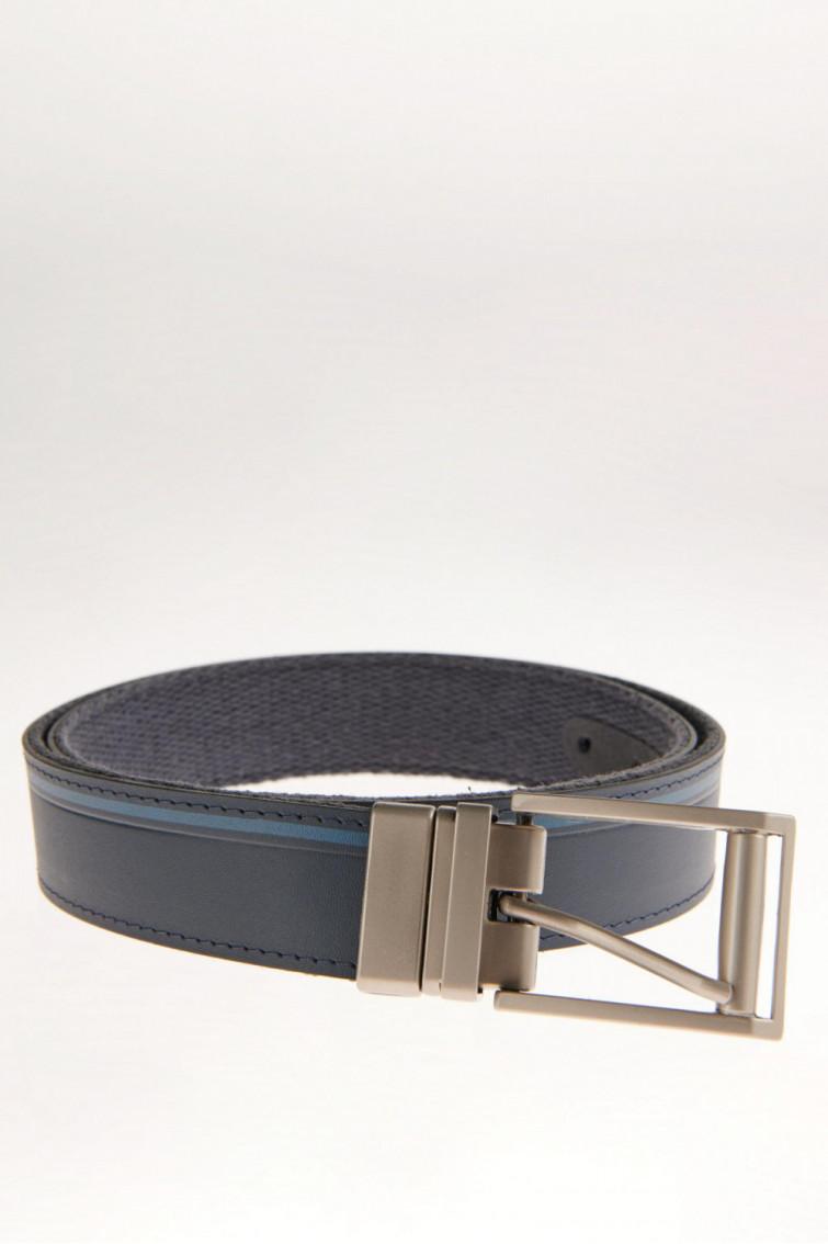 Cinturon unicolor azul - reversible hebilla metalica