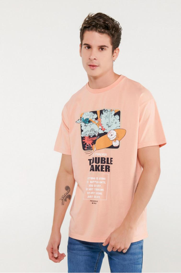 Camiseta básica oversize estampada.