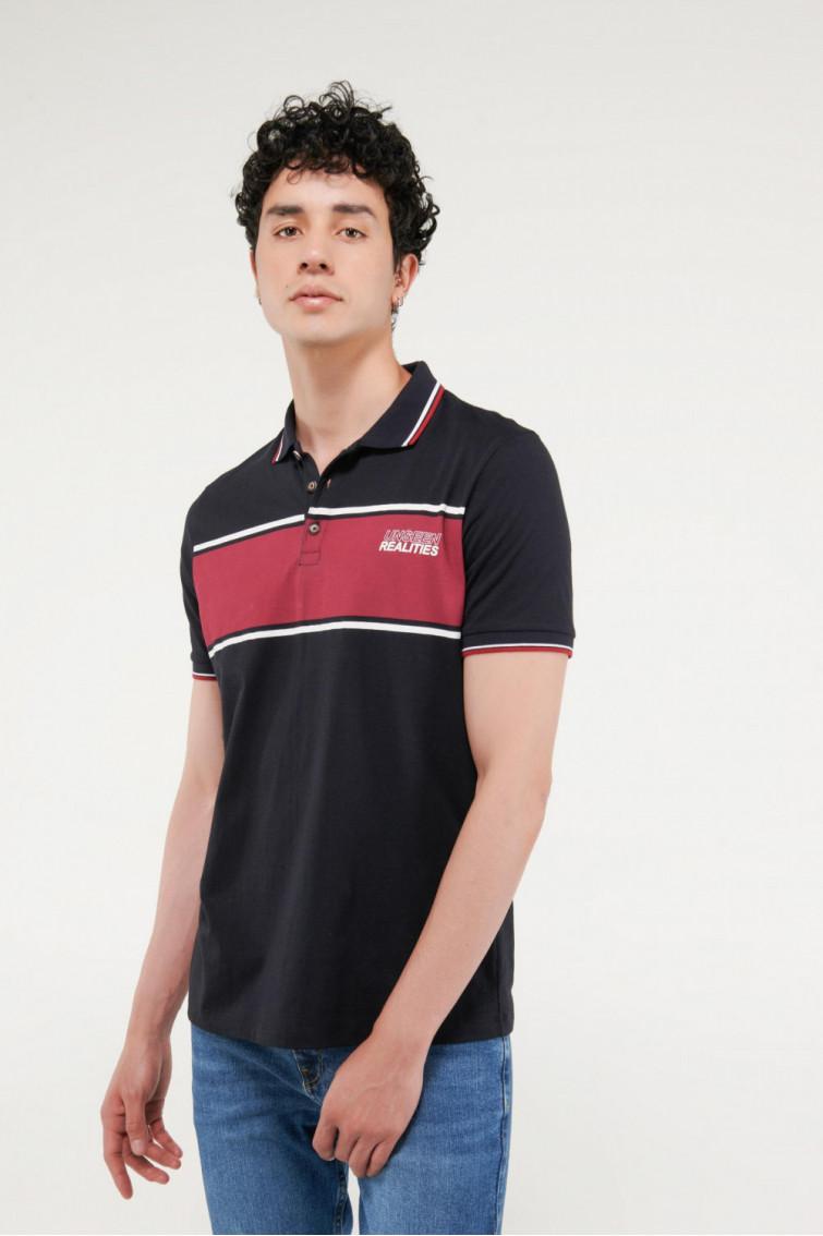 Camisa Polo manga corta estampada, con cuello y puños tejidos