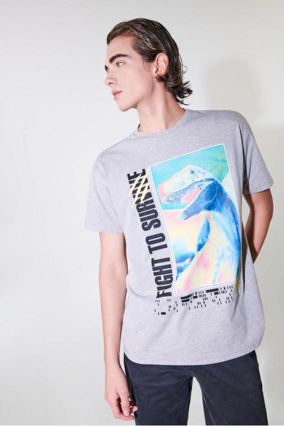 Camiseta manga corta estampada Jurassic Park.