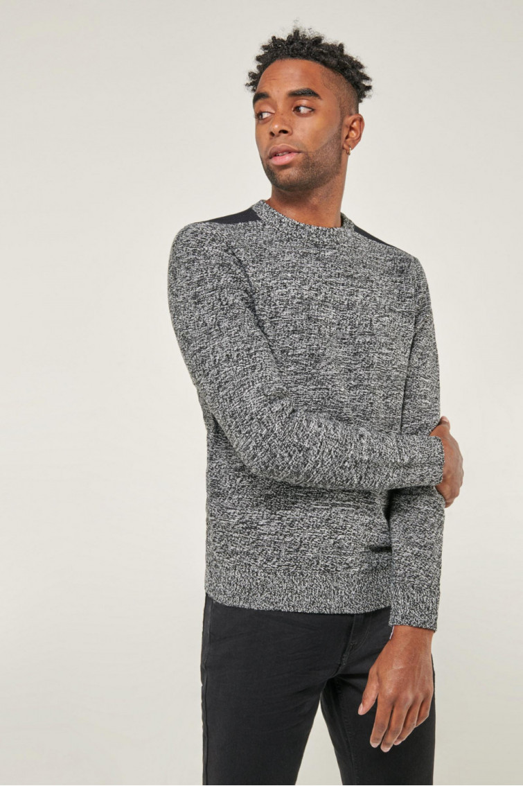 Suéter cuello redondo hombro contraste