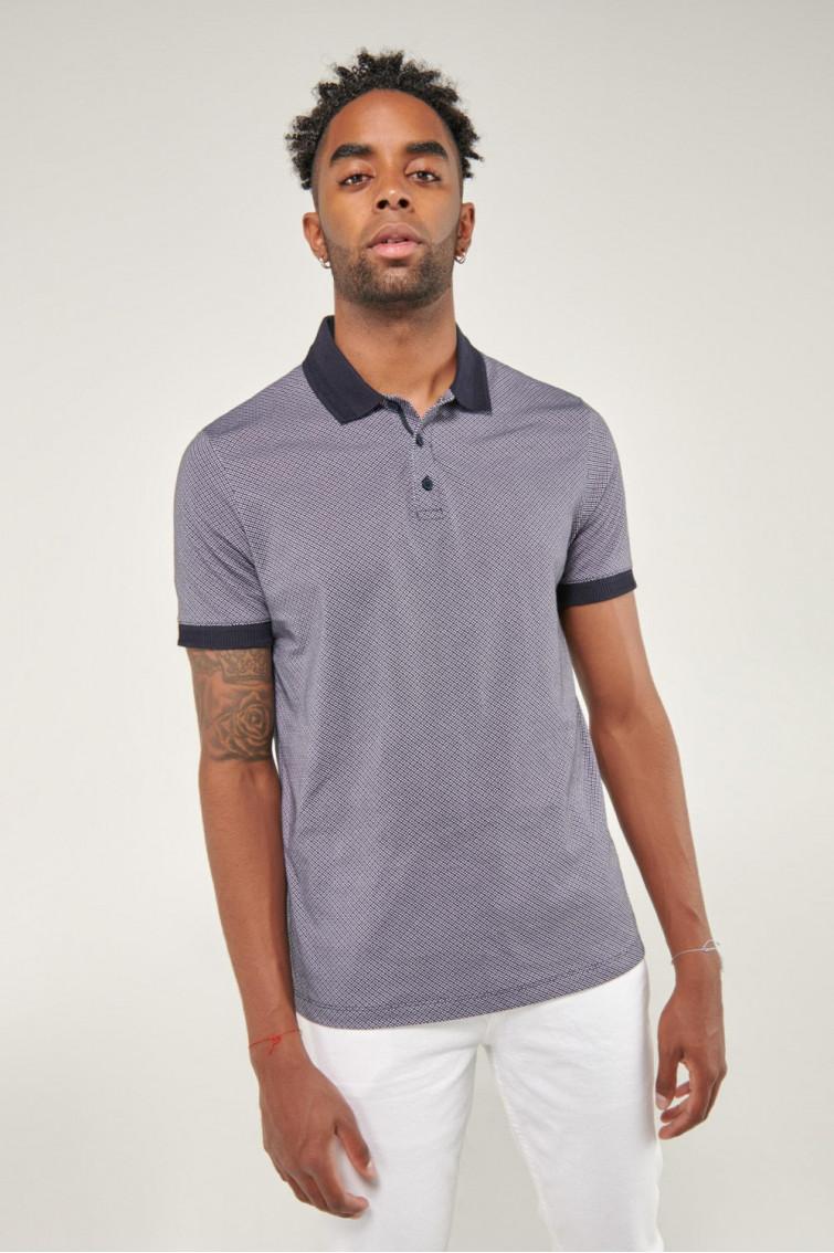 Camisa Polo manga corta con cuello y puños tejidos con estampado continuo