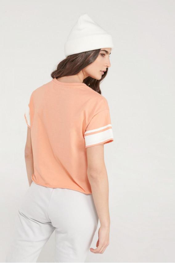 Camiseta básica, cuello redondo, estampada