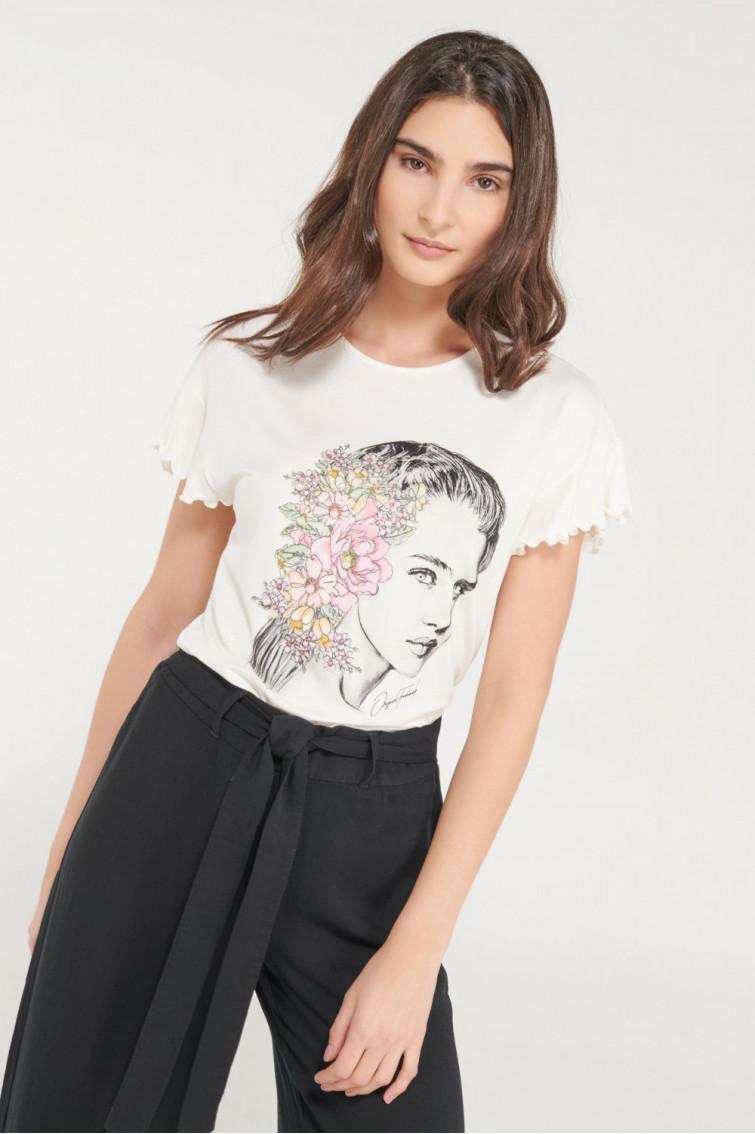 Camiseta estampada con perlas