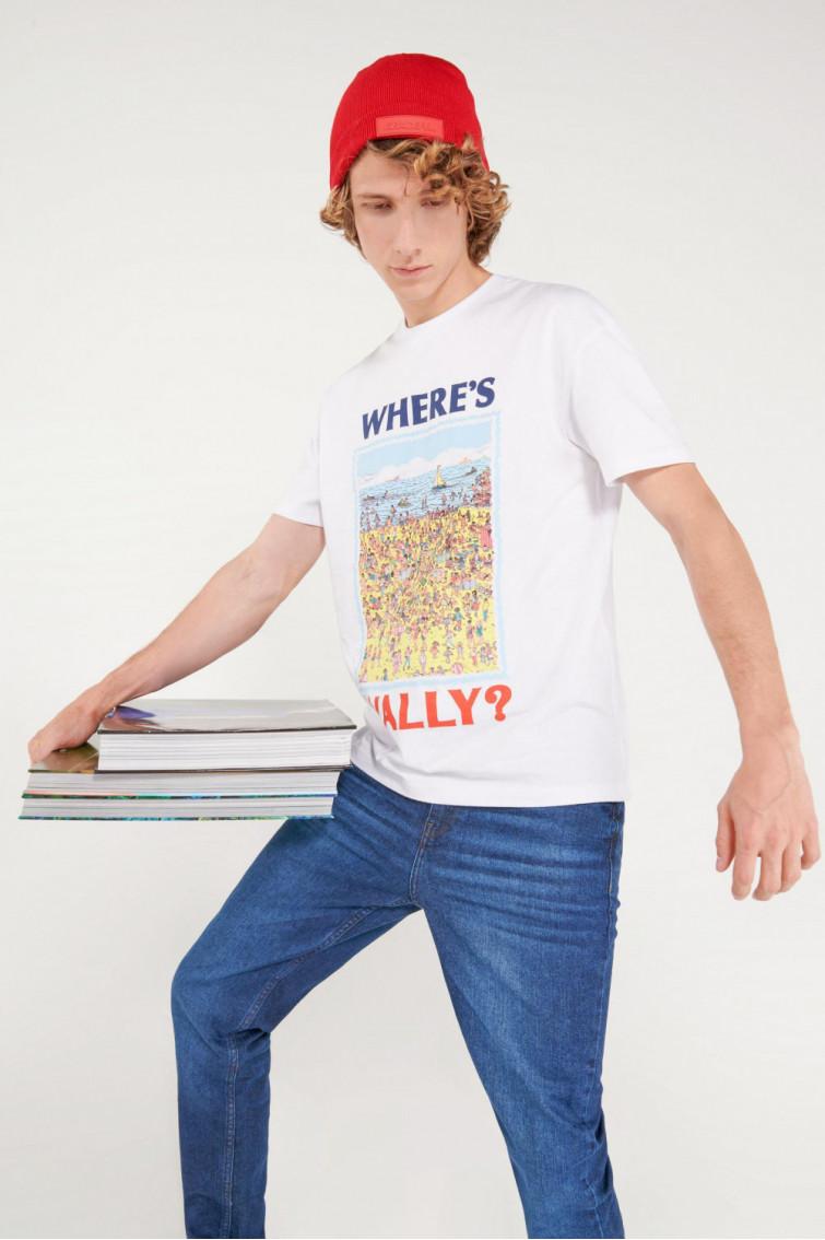 Camiseta manga corta, estampado de ¿Dónde está Wally?