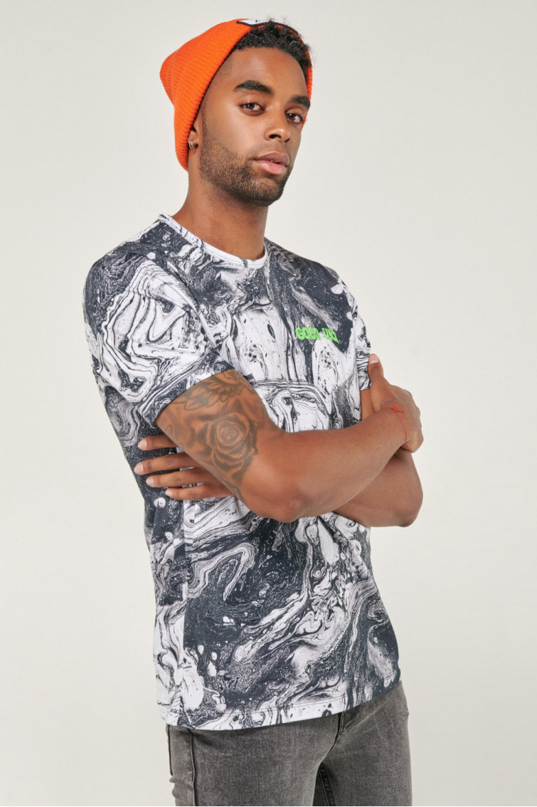 Camiseta manga corta estampado continuo