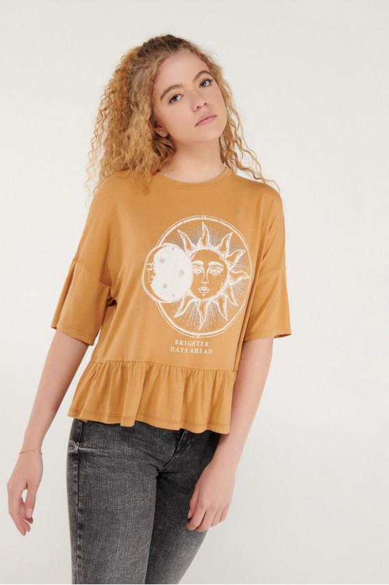 Camiseta chic hombro rodado con estampado