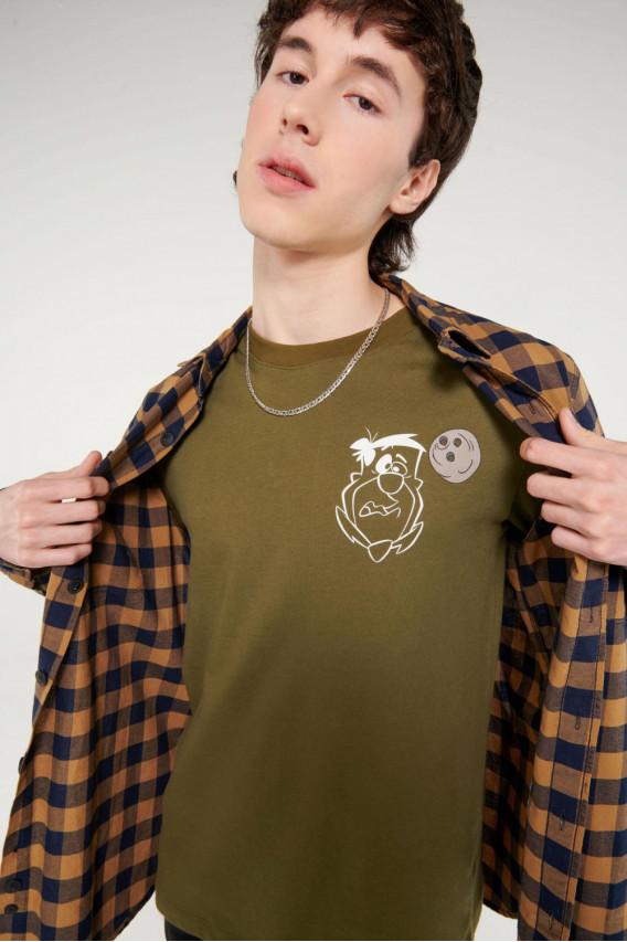 Camiseta cuello rendondo con estampado frente y espalda Los Picapiedra