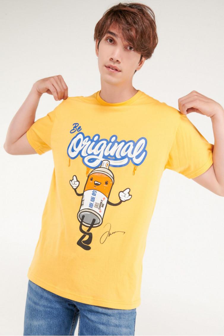 Camiseta manga estampada