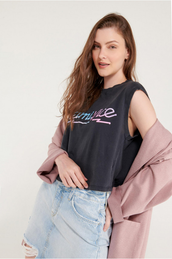 Camiseta sin mangas, estampado de Miami Vice.