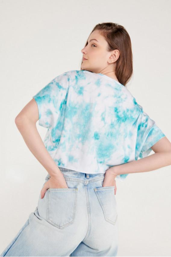 Camiseta manga corta TIe Dye, estampado de Miami Vice.