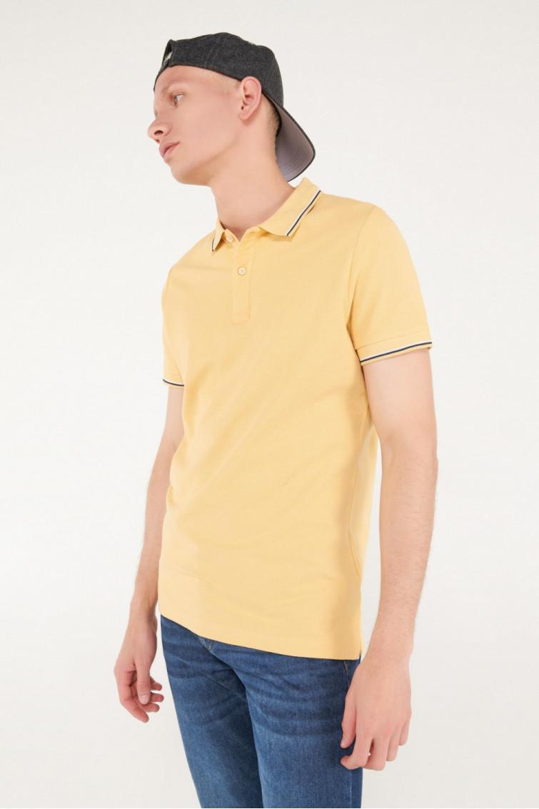 Camisa Polo básica unicolor con cuello y puños tejidos