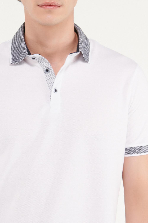 Camiseta Polo unicolor con cuello tejido