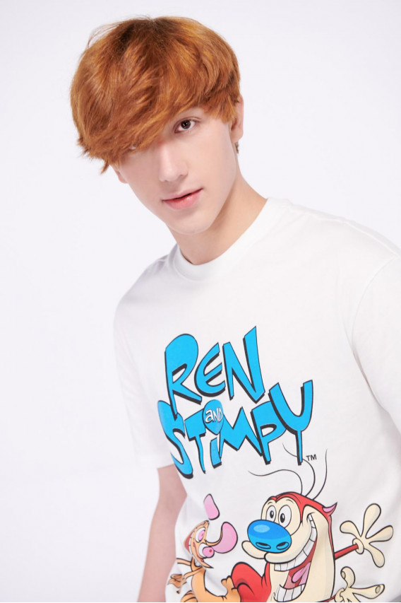 Camiseta manga corta estampado de Ren & Stimpy.