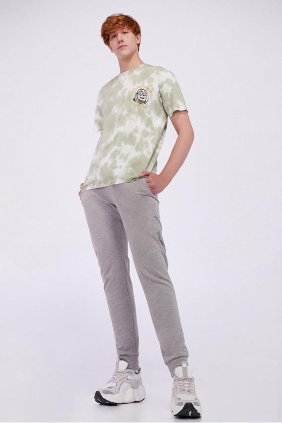 Camiseta cuello redondo con tie dye y estampado frente y espalda de Minions.
