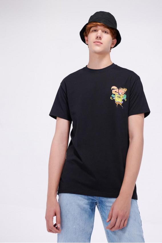 Camiseta cuello redondo con estampado frente Bob Esponja