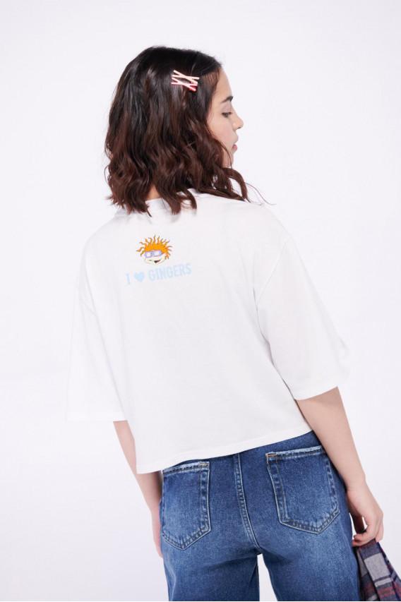 Camiseta manga corta, con estampado en frente y en espalda de Aventuras en Pañales.