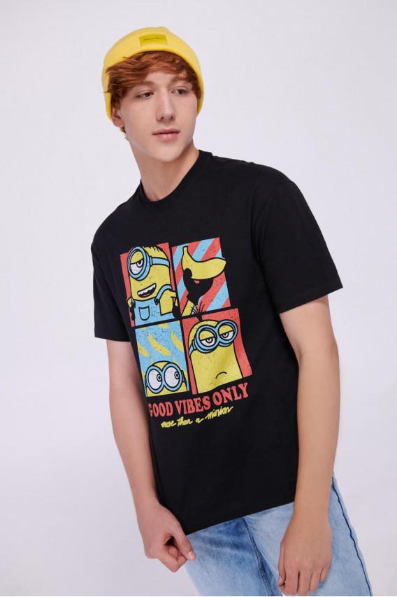 Camiseta cuello rendondo con estampado frente Minions