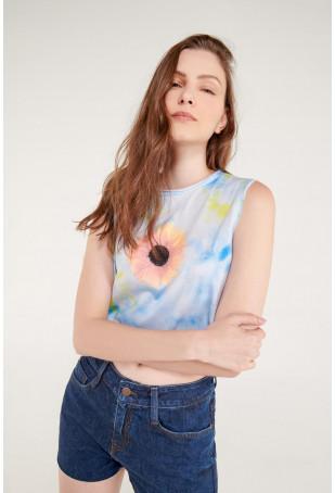 Camiseta sin mangas con estampado, Girasol.