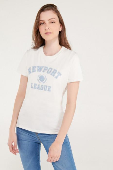 Camiseta cuello redondo, manga corta con estampado loungewear