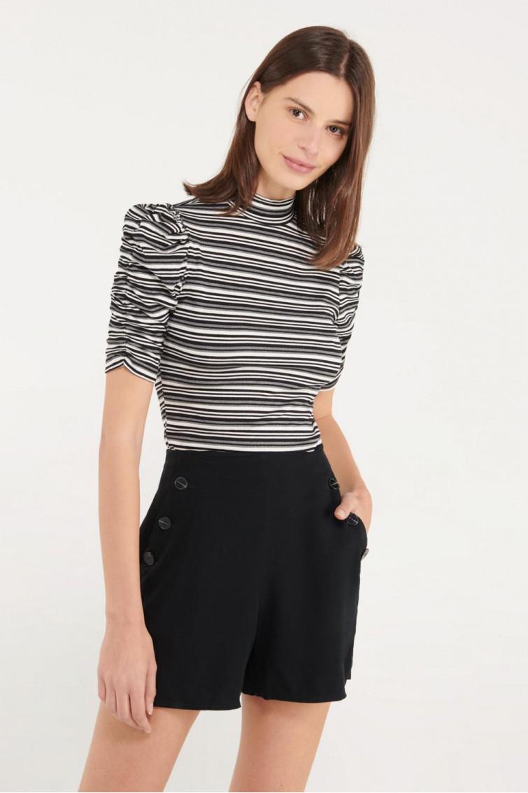 Camiseta, manga corta con recogido en rayas
