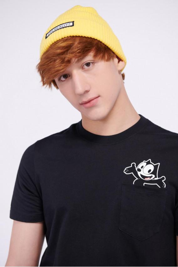 Camiseta cuello redondo, estampado frente Felix el Gato