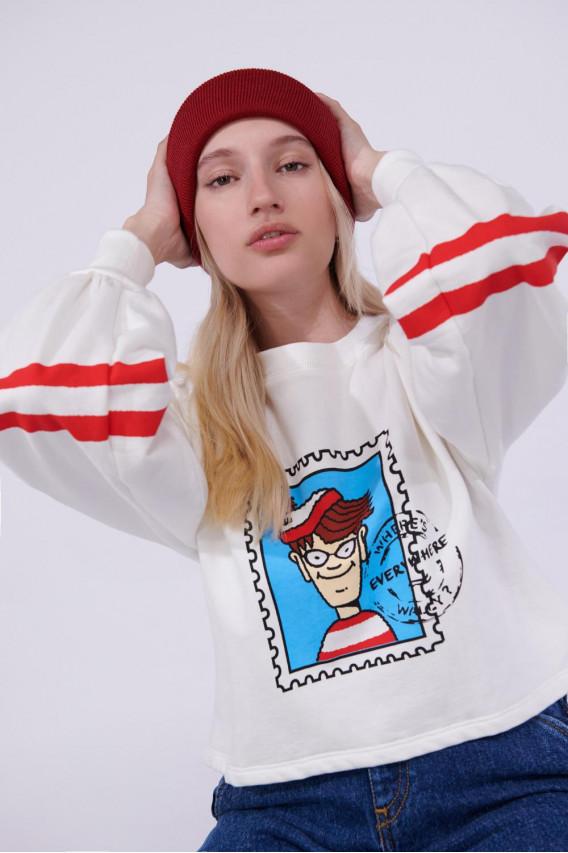 Buzo cuello redondo licencia Where´s Waldo, Universal.