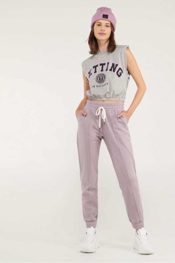 Camiseta sin mangas, para mujer con hombreras.